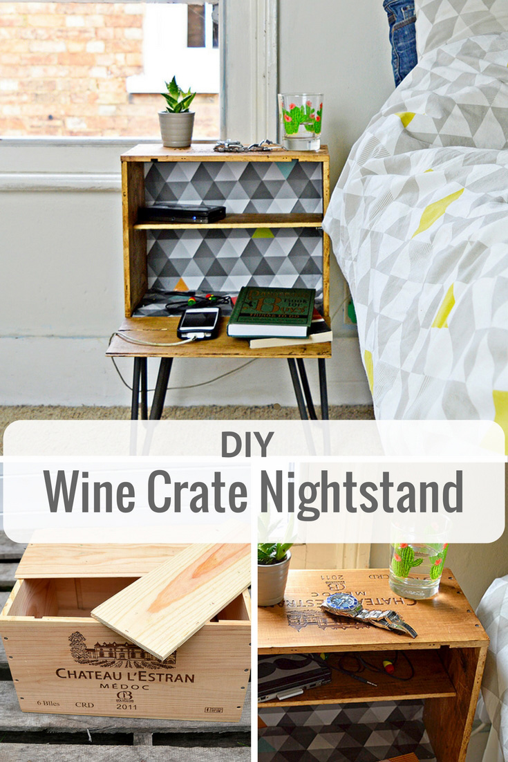 Upcycle an old wine box into a fabulous DIY nightstand. Decoupage the inside to match your decor and add hairpin legs.
