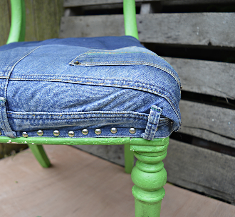 Ikea Hack Skruvsta Denim Chair Upcycle Pillar Box Blue
