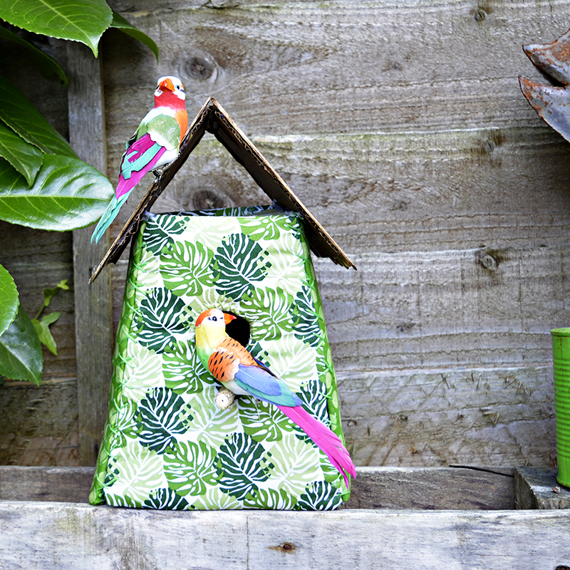 Free pattern and tutorial to make this gorgeous tropical fabric birdhouse.