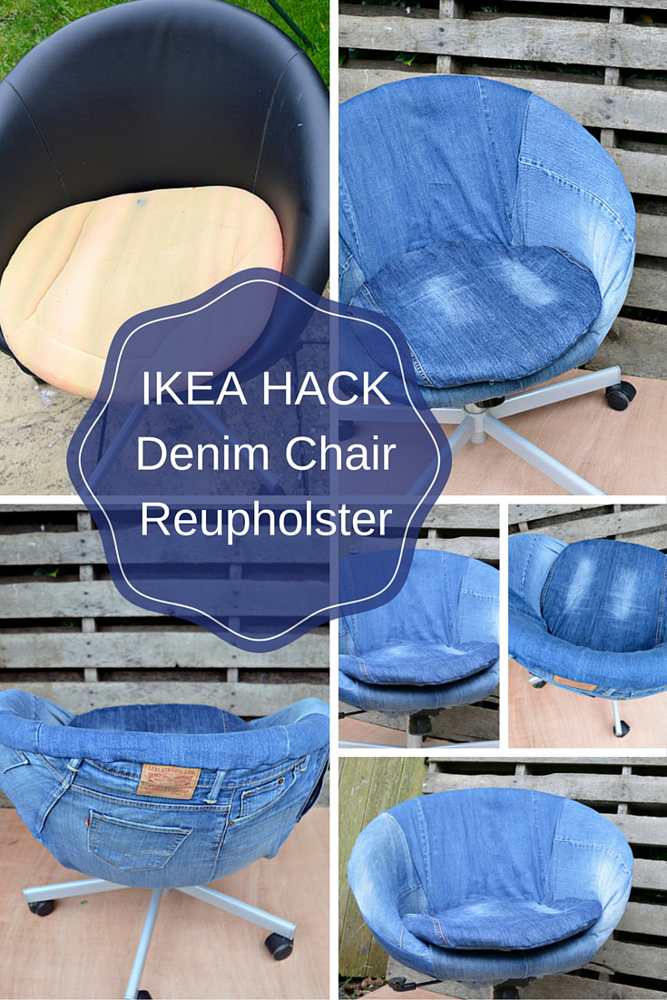 Ikea Hack reupholster a boring Ikea Skruvsta office chair in denim.  Great upcycle of old jeans and use of a staple gun.  It's a lot easier than you think with a full step by step tutorial.