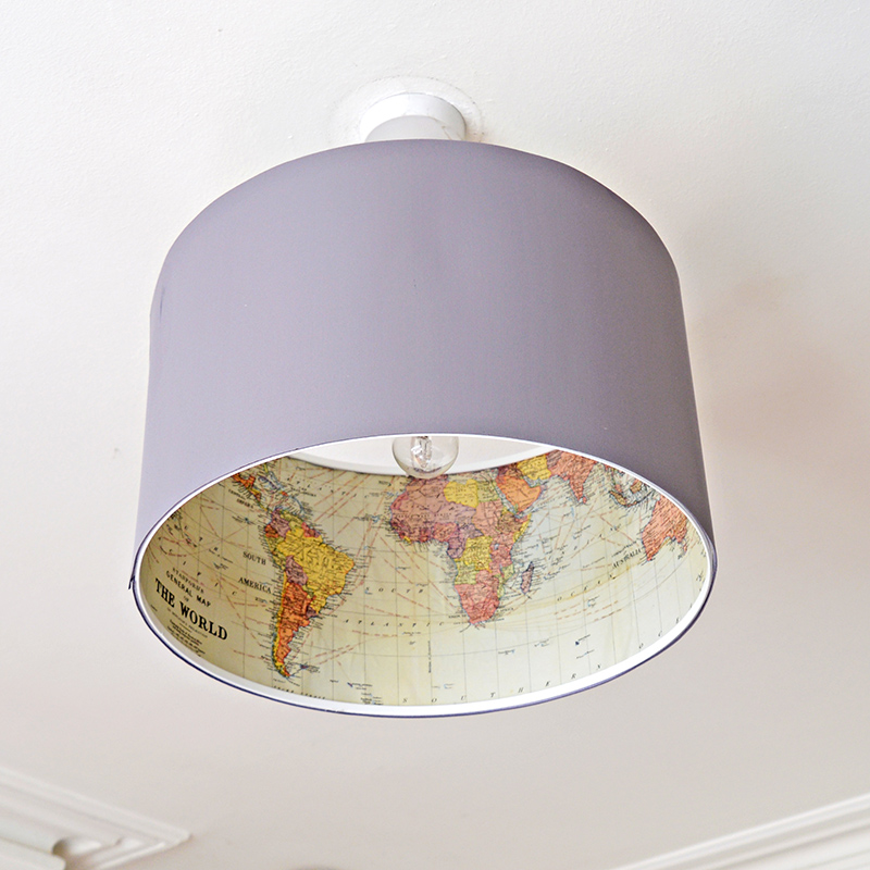 The Best Ikea Lamp Hack  Rismon Map Lampshade  Pillar Box Blue