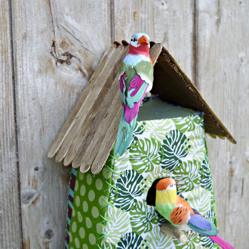 Tropical Fabric Birdhouse - Fun decoration, easy to make with free pattern and tutorial.