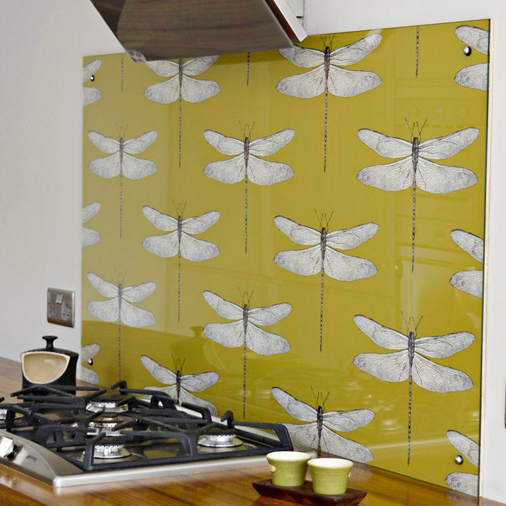 DIY Splashback with wallpaper. Create a statement piece with a designer wallpaper splashback in your kitchen. Easy to change when you fancy something different.