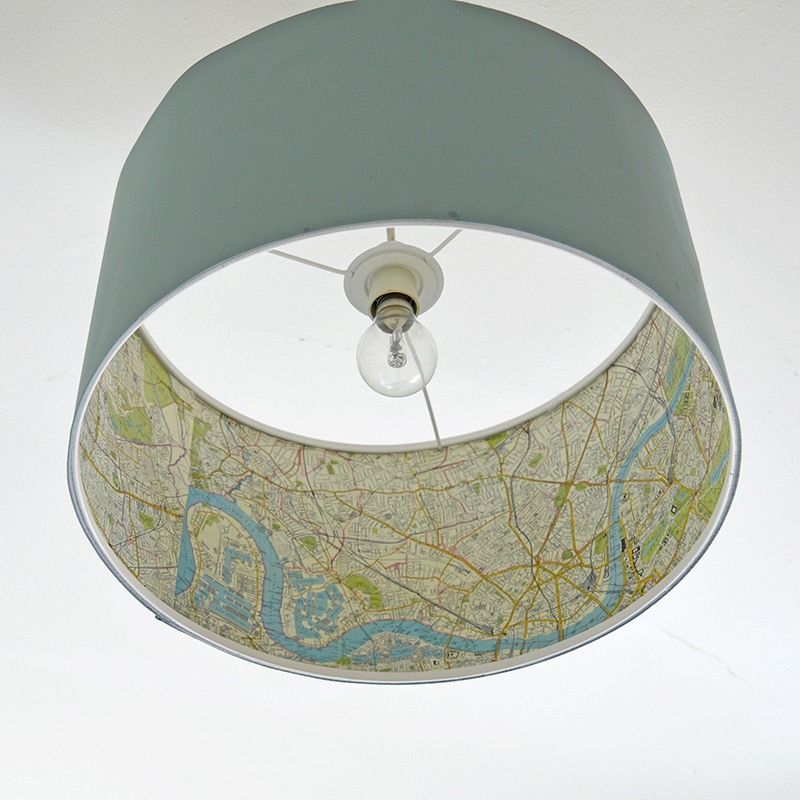 Ikea lamp hack- transform a plain Ikea Rismon lampshade with some London map decoupage.