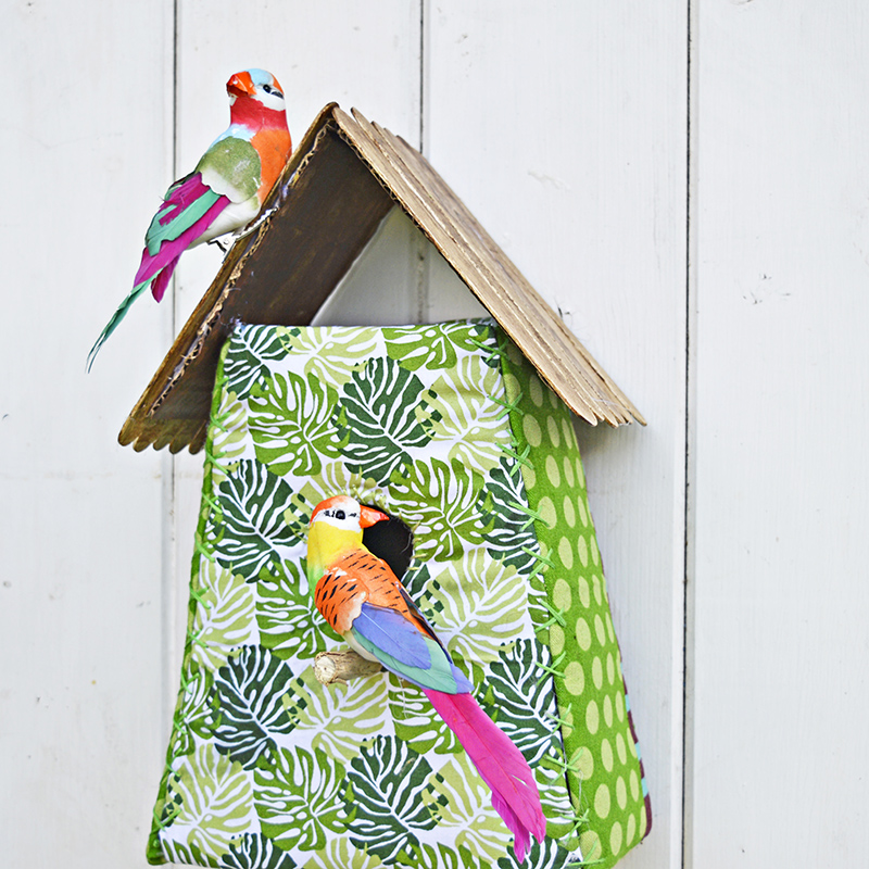 Embrace the tropical trend with this gorgeous fabric tropical birdhouse.  Fun and easy to make with free template.