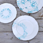 How to make a painted plate by using a doily as a stencil. Great way to add new life to old crockery.