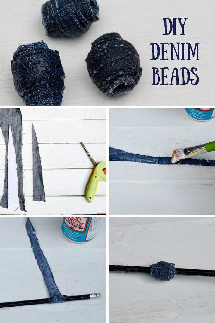 Make upcycled denim beads out of your old jeans.  Great for DIY Jewelry and crafts.