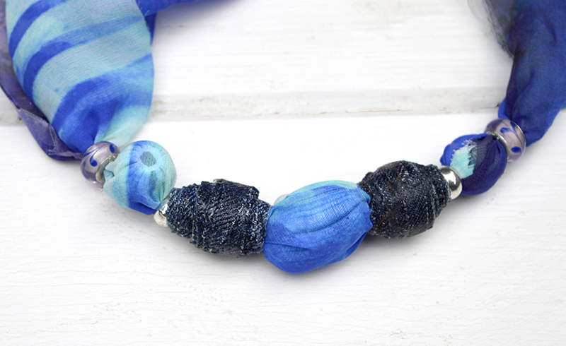 DIY Jewelry upcycling old scarfs, also making your own denim beads. Full tutorial