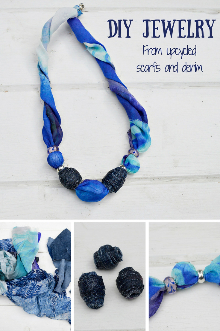 DIY Jewelry by upcycling old scarves and making denim beads.  Makes a great gift.