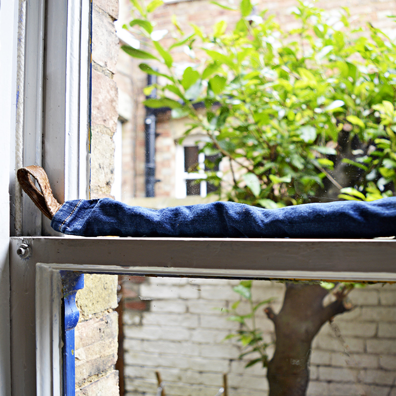Window Diy draught excluder - made from upcycled jeans, great for sash windows.