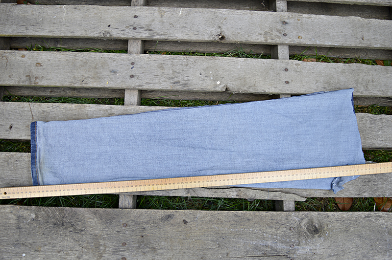 Upcycled denim draught excluder