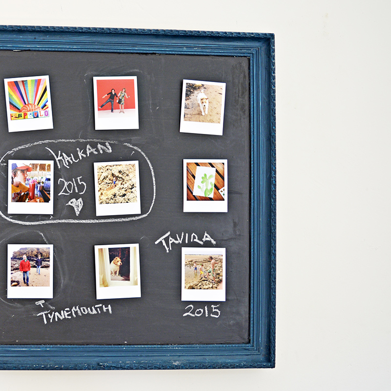 Upcycled picture into a chalkboard photo frame.  A fantastic way to display your photos.  Not only can you move them around easily but you can also write your own tags on the board.