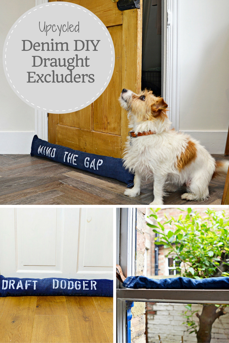 Fun stenciled upcycled denim DIY draught excluder to keep out the cold from both doors and windows.