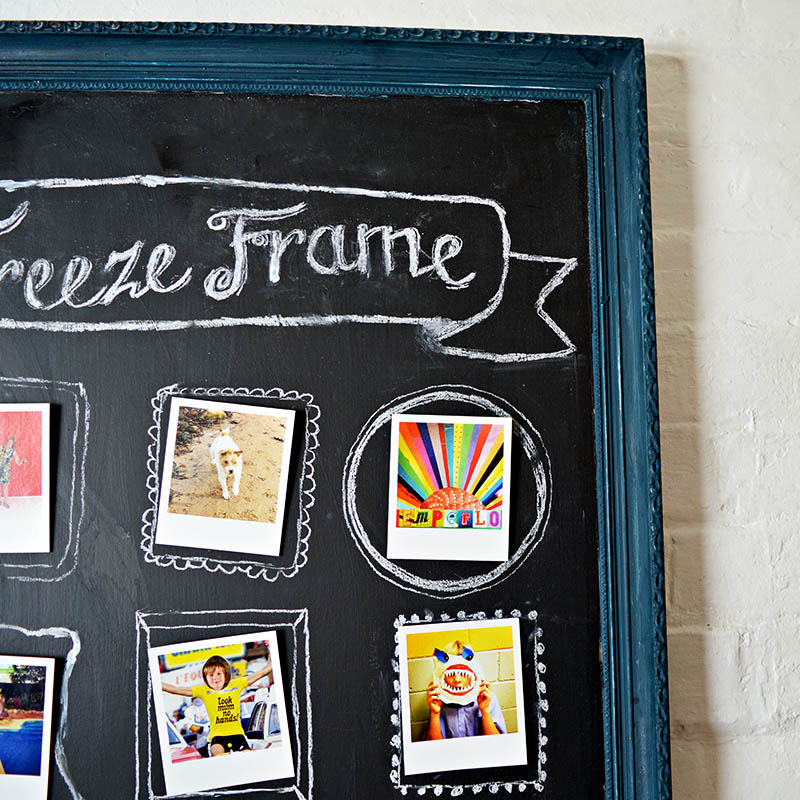 Create a fun easy way to show off your photos with this upcycled chalkboard frame.