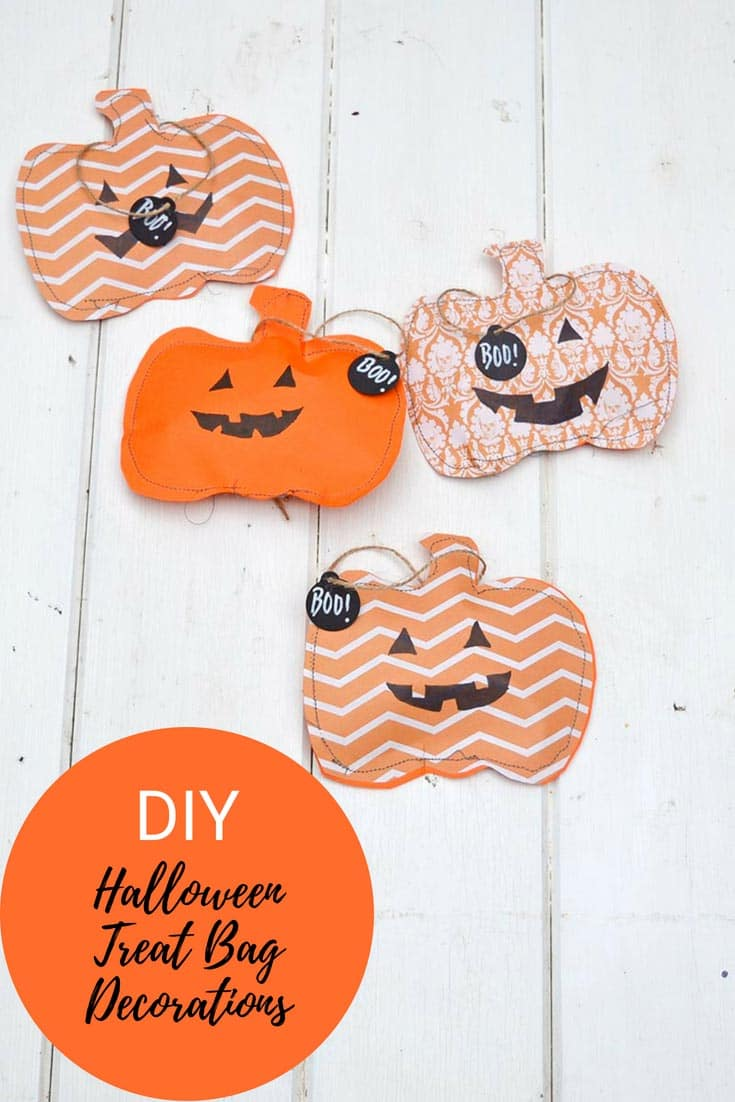 Paper stitched halloween treats bags
