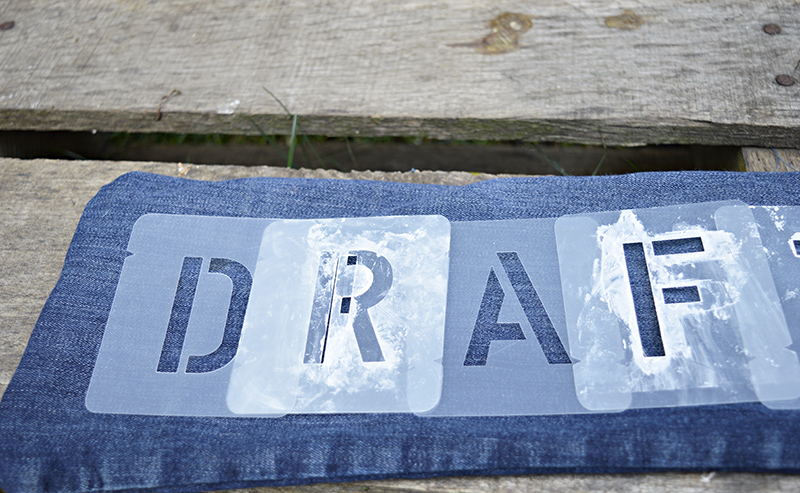 stenciling denim draught excluder