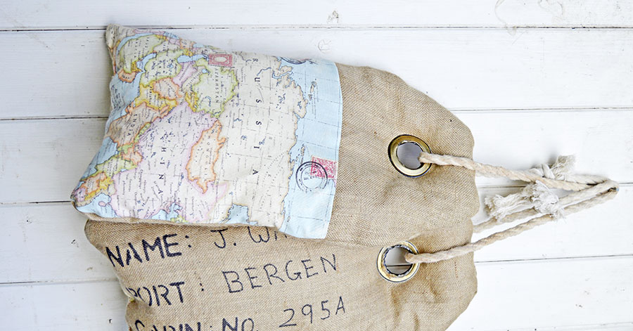Map burlap pillows- Made to look like a luggage tag can be personalised.