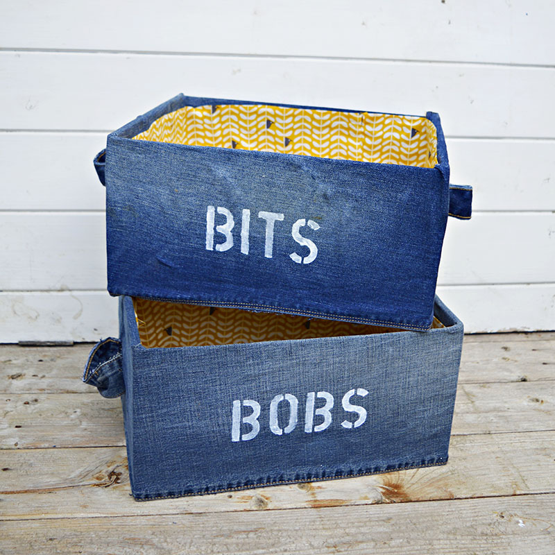 "Denim DIY Storage Box for your ""Bits and Bob"". Ikea Pingla hack with stenciling. Very easy to make fabric attached with spray adhesive."