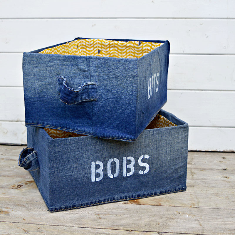 These fun upcycled denim storage boxes are really easy to do. You can stencil your own labels to make them even more unique.