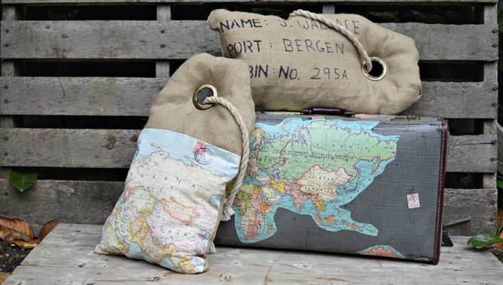 Luggage Tag Burlap Map Pillows (Hessian Pillows)