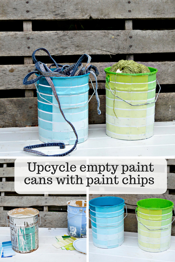 Make some fun craft storage by upcycling your empty paint cans with paint chips.