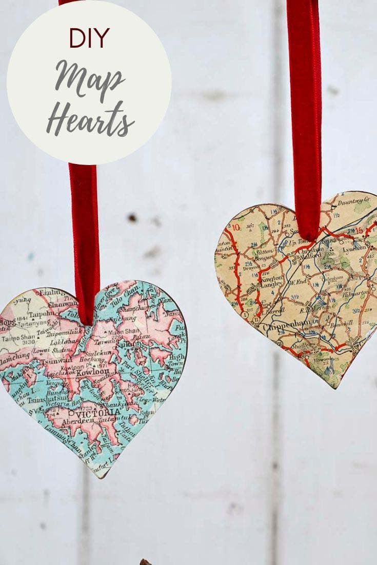 DIY Heart Map Ornaments