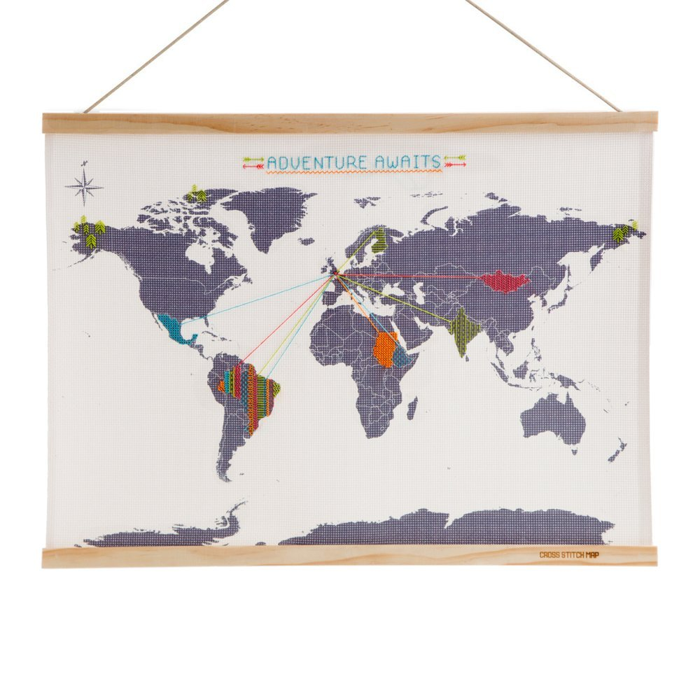 Cross stitch map. Map themed gift guide.