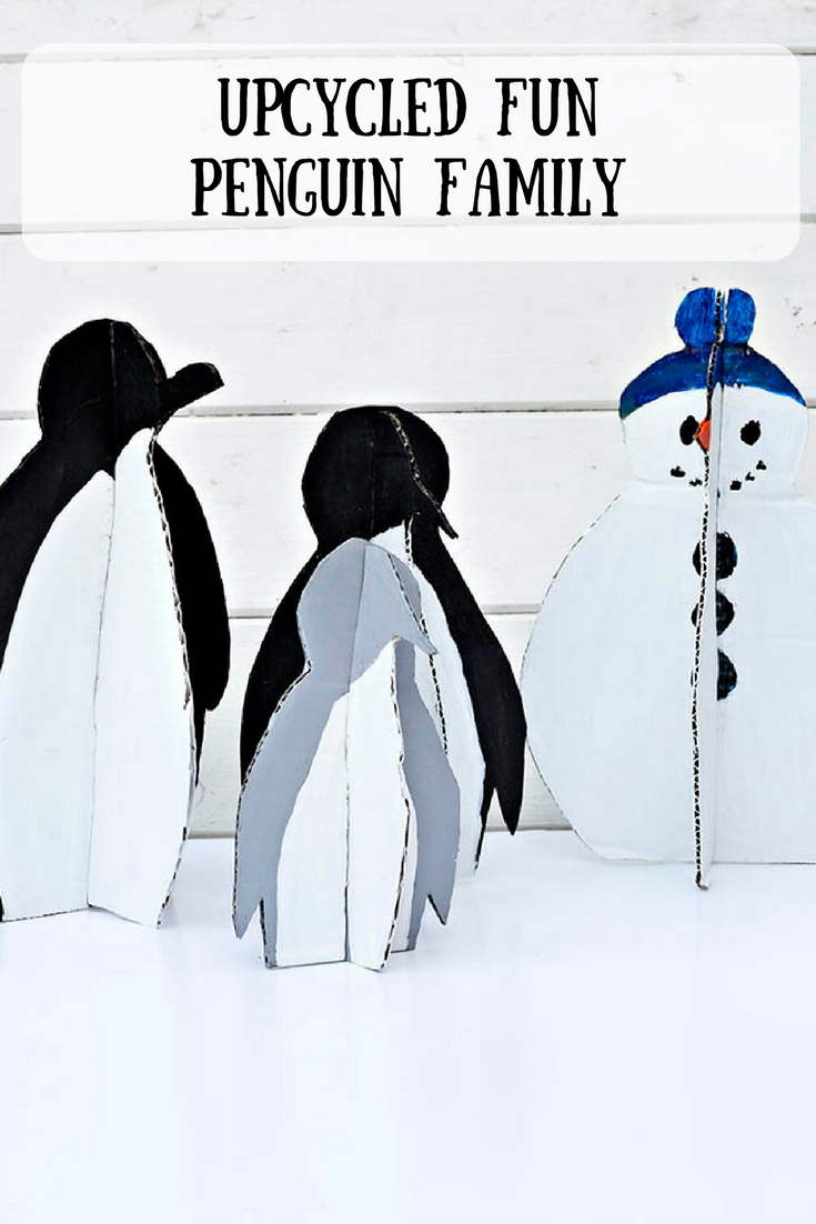Upcycle all that Christmas packaging, by making your own DIY Christmas decorations.  You can make your own penguin family and snowman.