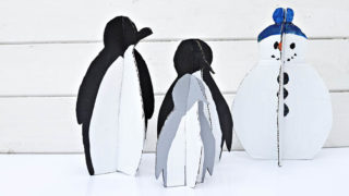 Upcycle your Christmas boxes, by making your own DIY Christmas decorations. You can make your own penguin family and snowman.