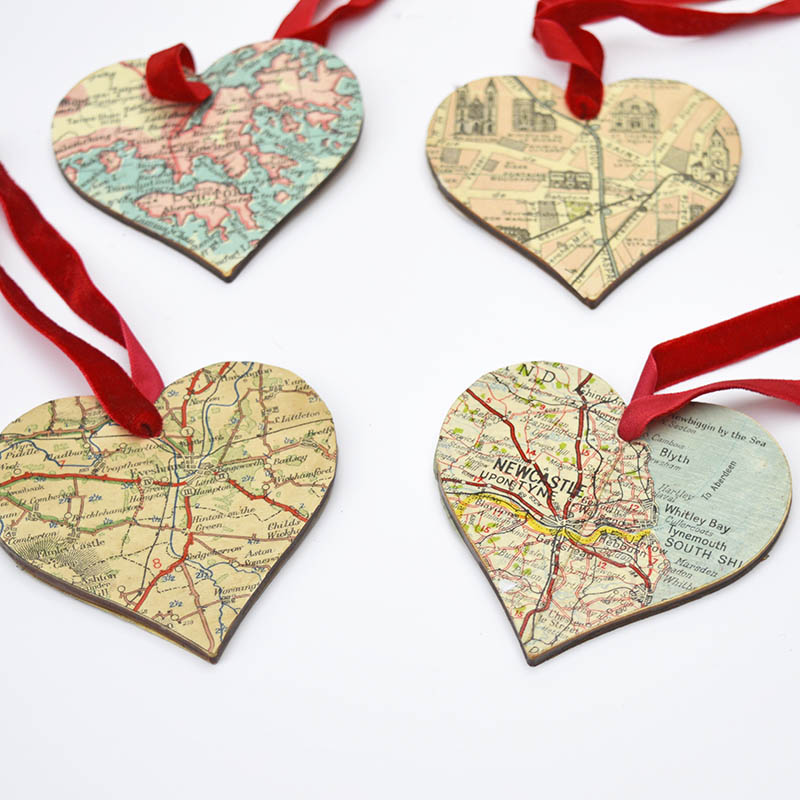 diy heart map ornament  u0026 brooch