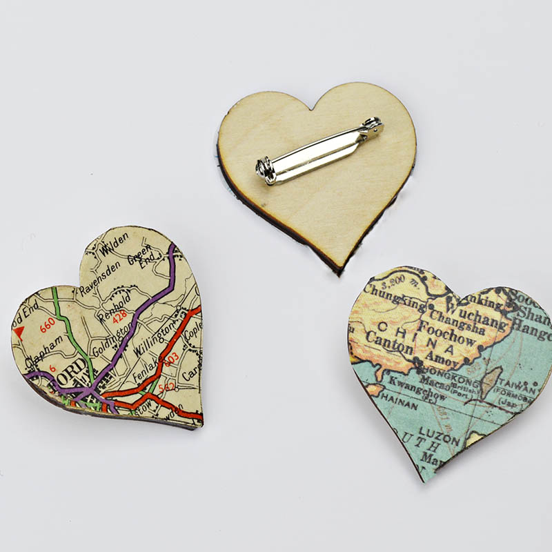 For a lovely gift make a simple map heart brooch of their favourite places.
