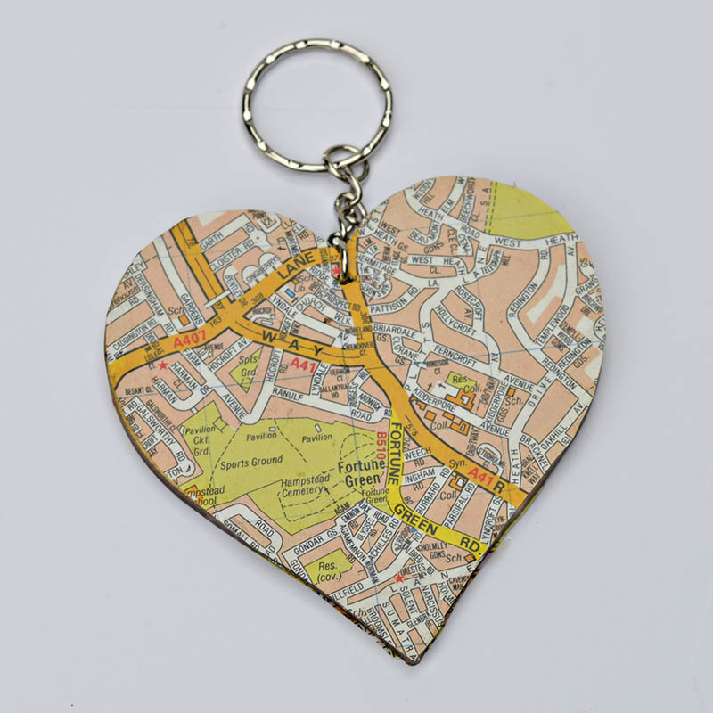 DIY heart map keyring, for that personalised touch.