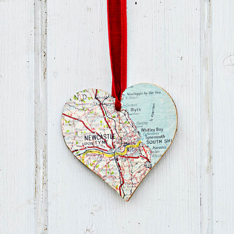 Diy Heart Map Ornament Brooch Pillar Box Blue