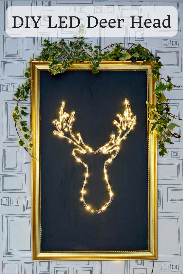 Make your own brilliant DIY LED Deer Head Christmas decoration. It's a lot cheaper and simpler than you think. #Christmas #Christmascrafts #Christmaslights #bottlelights #lights