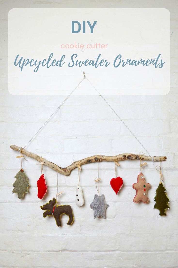 These gorgeous upcycled Christmas ornaments cost nothing to make as they are made from old sweaters and Christmas cookie cutters as a template.  If you don't have Christmas cookie don't worry you can get the templates for free by clicking over to the blog.