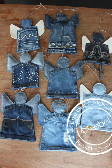 the best repurposed denim christmas decorations