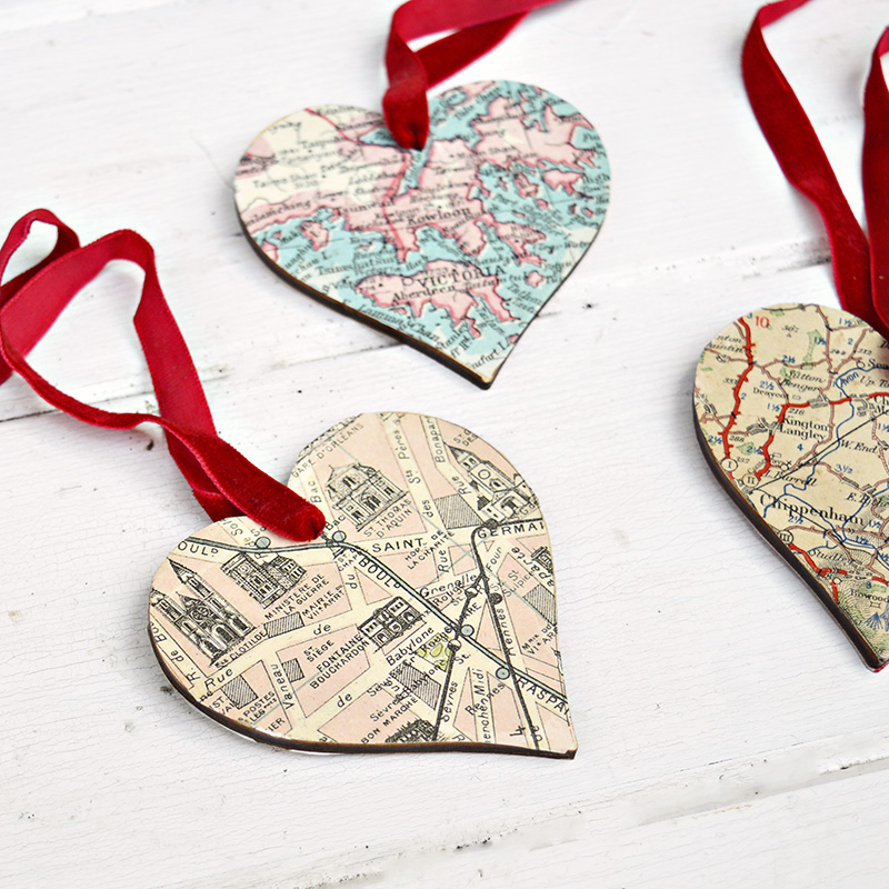 DIY heart map ornament for that extra special personalised gift.
