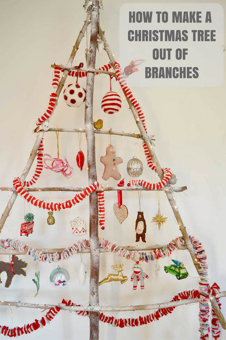 Make a simple flat stylish Branch Christmas tree from branches in your garden and a bit of wire.