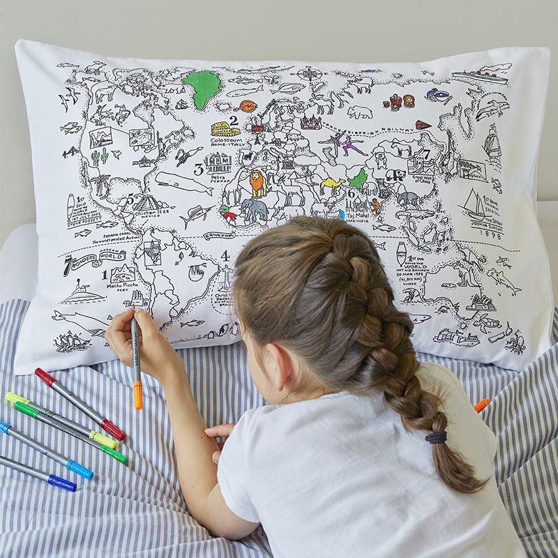 Colour-in Pillow case map themed gift guide