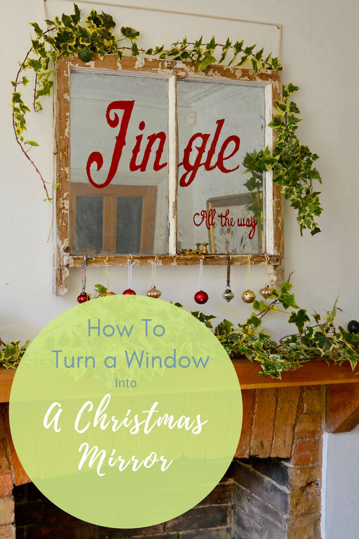 Did you know you can change glass into a mirror with spray paint?  Along with some glass paints you can upcycle an old window into a lovely Christmas mirror for your holiday mantle.