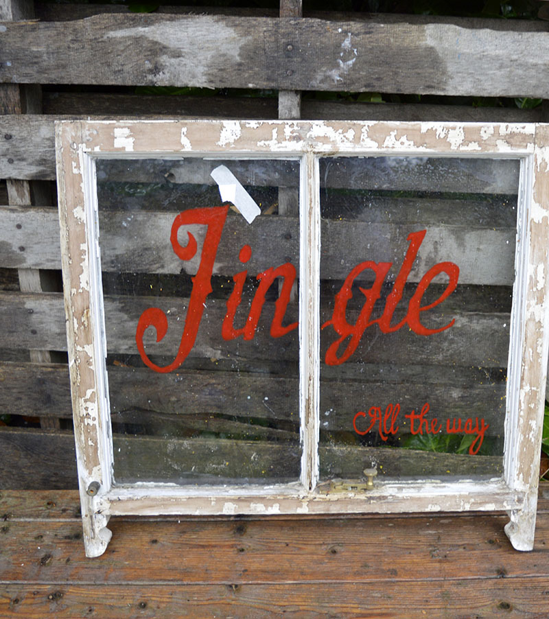 Upcycling an old window Christmas decoration and mirror