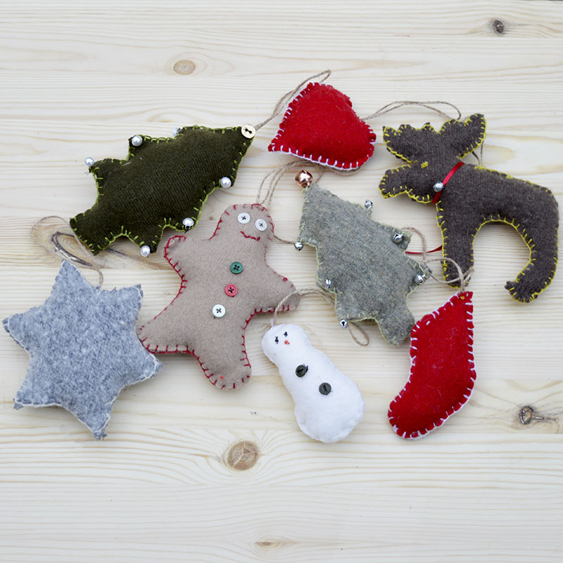 Cute upcycled Christmas ornaments.  Made with old sweaters and cookie cutter shapes.  Lovely as a tree decoration but even better hung in a garland.