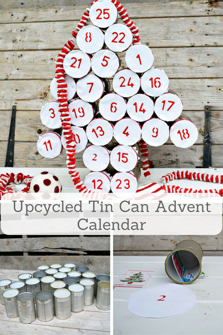 Make a rustic farmhouse style advent calendar for christmas by upcycling your old tin cans.