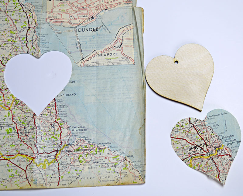 cutting out map heart