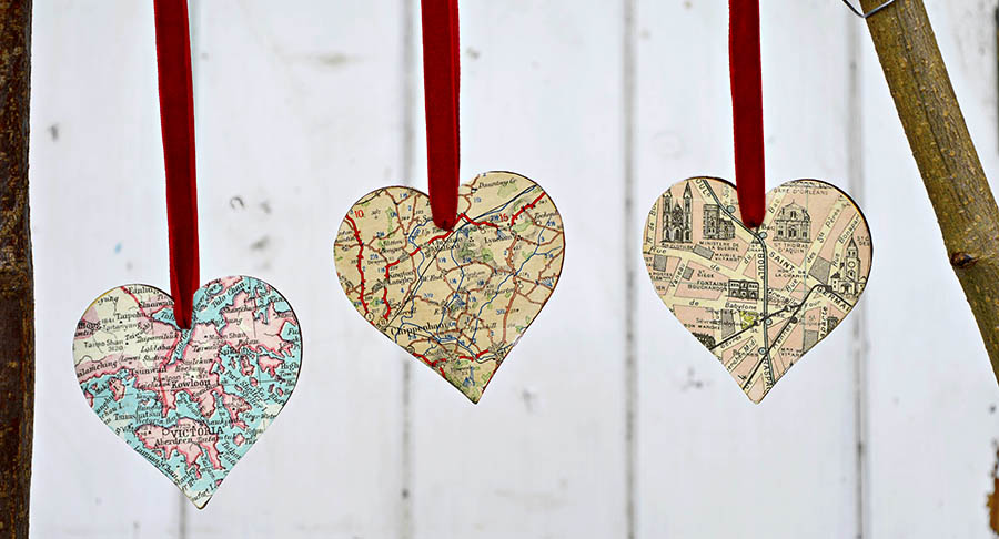 Make gorgeous heart map ornament, brooch and keyring. Great for unique christmas gifts.