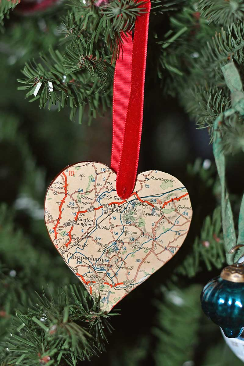 Map heart ornament