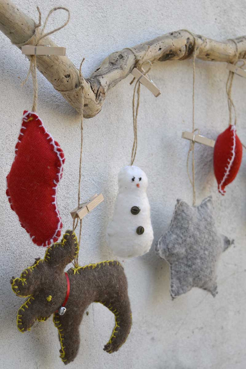 Upcycled Christmas sweater ornaments