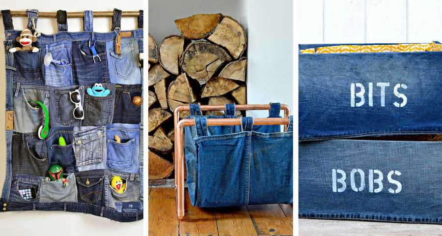 Favourite Upcycled Denim Storage Ideas