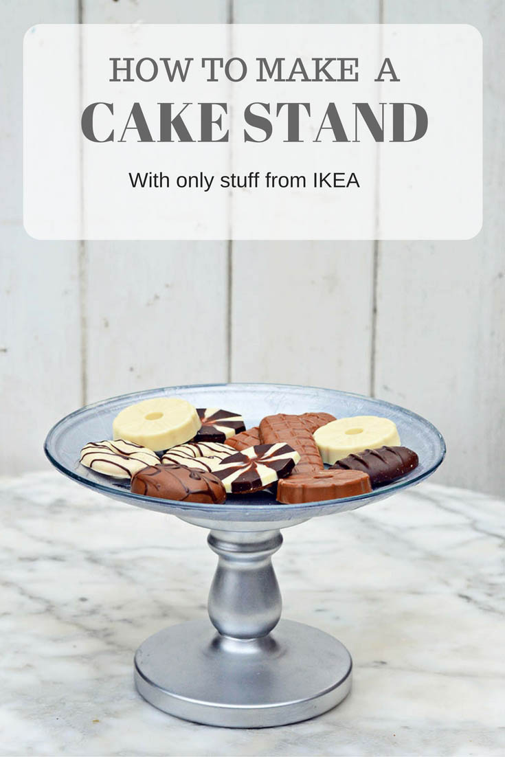 How to make a gorgeous cake stand by just using stuff from IKEA.  The Cake stand can be customised by decoupaging with different napkins.