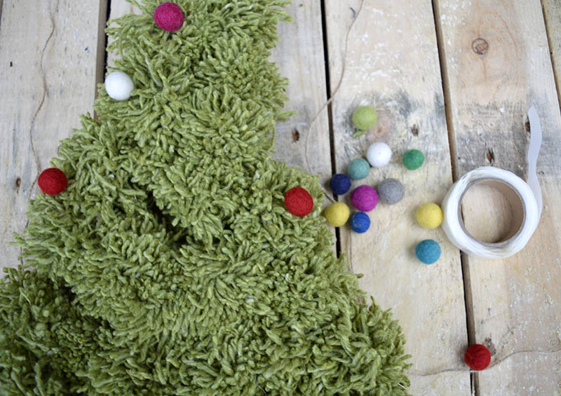 Pom pom Christmas tree wall hanging